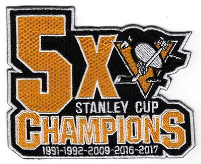 Pittsburgh Penguins Patch 5X Champions Stanley Cup Back To Back Champs 4 3 4 X 4
