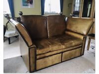 Antique Knoll Two Seater Leather Sofa With Folding Drop Arms