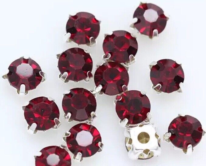 5mm Sew On Crystal Rhinestones 100 pcs SS24 Siam Red Birthstone January