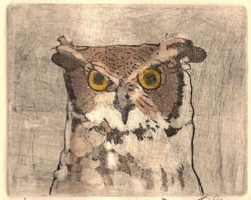 """""""Owl""""  signed etching on Arches 100% cotton paper"""