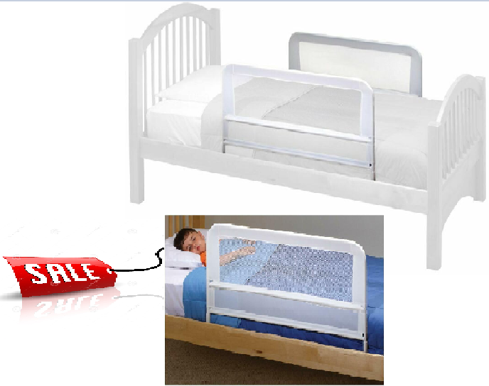 "Childrens Mesh Bed Rail White 21"" Tall Perfect For Thick Mat"