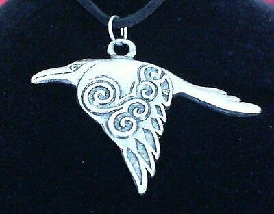 Corvus Celtic Crow Pewter Pendant Leather Necklace! New Scottish Irish Welsh
