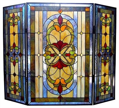 TIFFANY STAINED GLASS FIREPLACE SCREEN * AMBER JEWELS Victorian Art Deco
