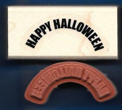 HAPPY HALLOWEEN ARCH words Stampin' Up! Toxic Treats wood mount Rubber Stamp](Halloween Greetings Words)