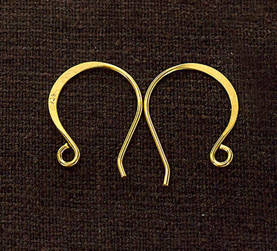 925 Sterling Silver 24K Gold  Vermeil Style 2 Pairs of Earwires 14x19 mm. 24k Gold Vermeil Ear Wires