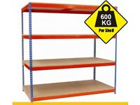 Shelving (2440h x 2140w) Blue & Orange with 4 Chipboard Shelves - Used Like New