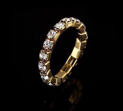 Crystal Rhinestone Clear Elastic 1 Single Row Stretch Ring Gold Setting Elastic