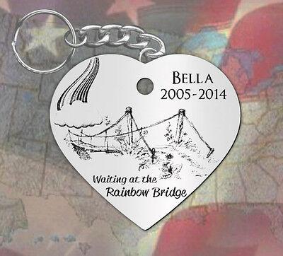 Rainbow Bridge, Heart Shape~ PERSONALIZED Pet Memorial Keychain, Dog