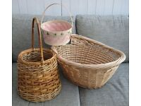 Wicker Basket, Laundry Basket & Small Bamboo Basket £6 the lot