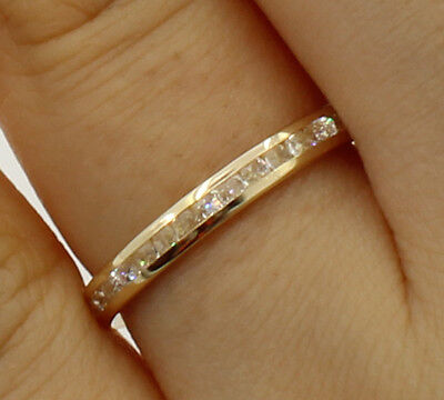 14K Yellow Gold Round channel set Eternity Endless Anniversary Wedding Ring (Anniversary Eternity Band Ring)