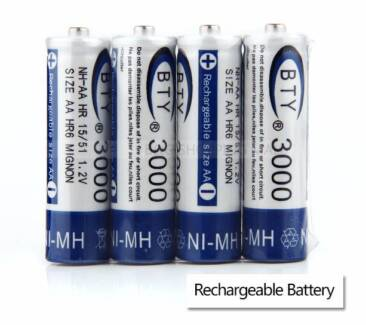 AA  Rechargeable Battery Recharge Batteries 1.2V 3000mAh Ni-MH 4X