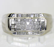 Mens 14k White Gold Diamond Ring
