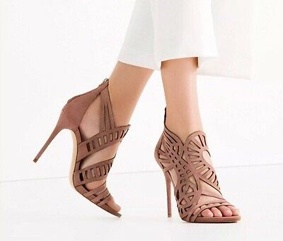 Zara High Heel Leather Openwork Open Toe Sandal Mauve Nude Suede Shoe NWT Sz 10 for sale  Shipping to Nigeria