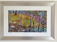 Large framed Daniel Campbell print 'Grazing among the birches'