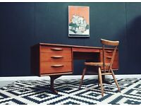 Retro mid century teak desk by Austinsuite. Free Edinburgh delivery