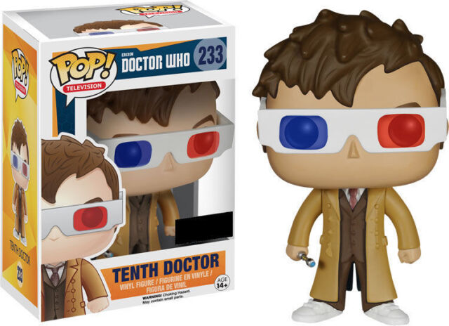 """EXCLUSIVE DOCTOR WHO TENTH DOCTOR WITH 3D GLASSES 3.75"""" VINYL POP FIGURE FUNKO"""