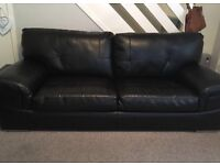 3 seater Black leather couch. Excellent condition only 18 months old. £100 Ono