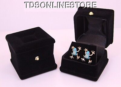 Exquisite Flocked Earring Boxes Case Lot Of 12 Black In Color