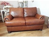 John Lewis, Brown two seater leather sofa excellent condition