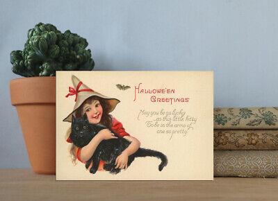 Wood Sign~Shelf Sitter~Little Witch & Cat ~Vintage Halloween Postcard Image