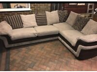 DFS brown and beige large corner sofa
