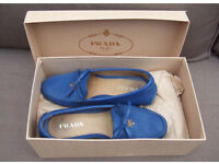 Pravda blue leather loafers driving shoes size 2.5
