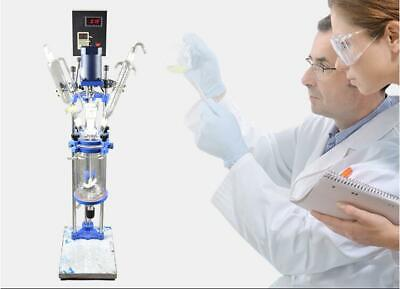 220v 5l Chemical Lab Equipment Jacketed Glass Reactor Vessel Digital Display