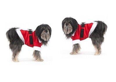 Urlaub Weihnachtsmann Kostüm für Hunde XS S - M - Weiches Velours - Urlaub Kostüm Für Hunde