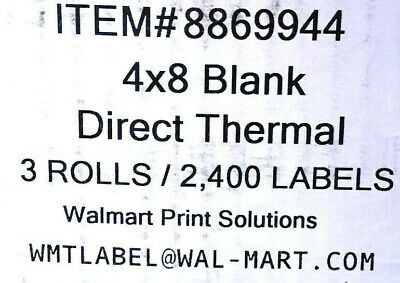 Brand New 4x8 Blank Direct Thermal 3 Rolls2400 Labels Wmtlabel