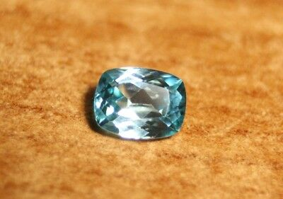 1.5ct Blue Zircon - Flawless Custom Cut Brilliant Cushion