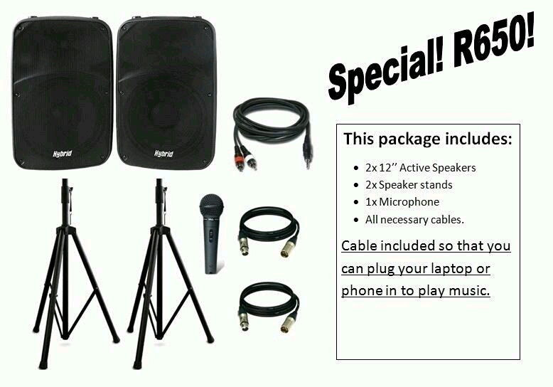 Big and small Sound packages for hire. SPECIAL NOW ON.