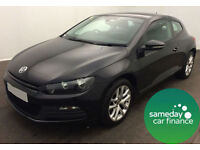 £183.58 PER MONTH BLACK 2011 VW SCIROCCO 2.0 TDI BMT 3 DOOR DIESEL MANUAL