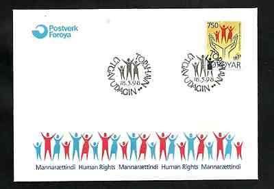 FAROE ISLANDS FIRST DAY COVER - 1998 - MANNARAETTINDI - HUMAN RIGHTS