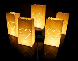 Candle Bags - Candle Lantern Bags (Pack of 10) - Large Heart Design