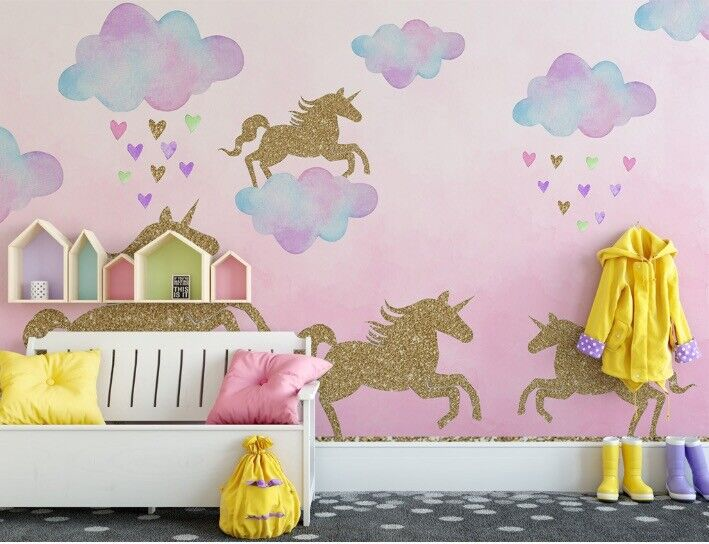 Unicorn Wall Stickers for kids' bedrooms, Pink Unicorn Decals for bedrooms, Unic Home & Garden