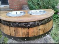 Oak Barrel Raised Dog Feeding Station