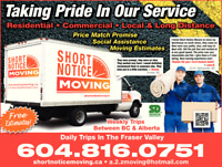 Short Notice Movers Vancouver - Low Cost Moving Company