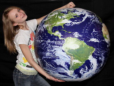 "36"" Inflatable ASTRONAUT VIEW Earth Globe w/Clouds - Earthball - Beach Ball"