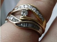 18ct White and Yellow Gold Two Tone Diamond Engagement Wedding and Eternity Ring Set. All Receipts
