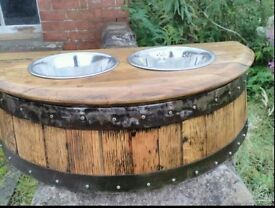 Whisky Barrel Raised Dog Feeding Station