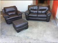 Leather sofa 2 & 1 footstool
