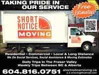 SHORT NOTICE MOVERS (( WE DO SOCIAL SERVICES MOVING QUOTES )