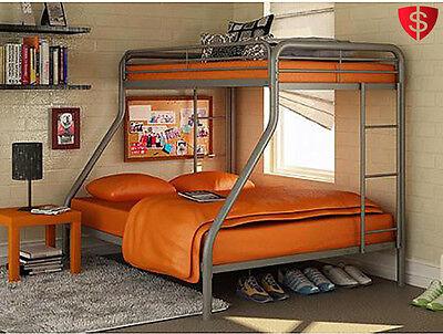 Metal Bunk Beds Twin Over Full Kids Bedroom Bed Dorm Furniture Boys Girls Ladder