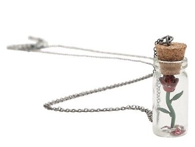 Disney Beauty & The Beast Belle Rose Charm Cork Bottle Pendant Necklace NWT!