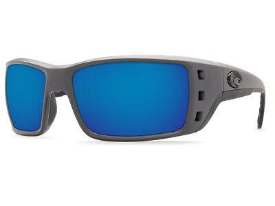 NEW Costa Del Mar PERMIT Matte Gray & 580 Blue Mirror Plastic 580P