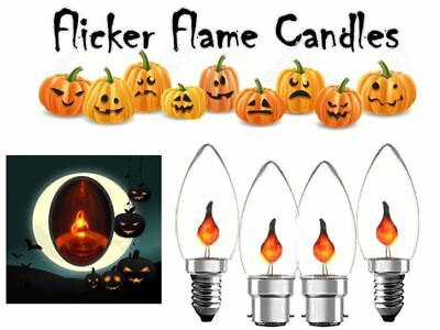 Halloween Flicker Flame Spooky Candles 3w Candle SES or BC Chandelier - Halloween Flickering Light Bulbs