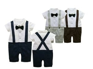 BOYS-BABY-TUXEDO-ROMPER-SUIT-BOW-TIE-WEDDING-1st-BIRTHDAY-CHRISTMAS-PARTY-OUTFIT