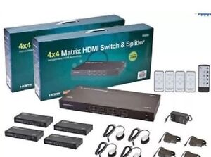 4x4 HDMI Matrix Switch & Splitter over CAT5e/CAT6 w/ Remote
