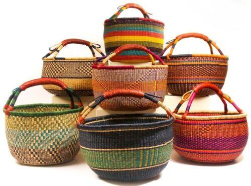 "Medium African Bolga Ghana Market Basket 11""-13"" Across (COLORS VARY)"