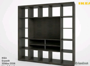TV and Media wall and shelf unit, IKEA Expedit